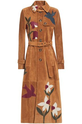 REDValentino Belted appliquéd suede trench coat