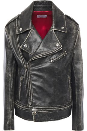 REDValentino Distressed leather biker jacket
