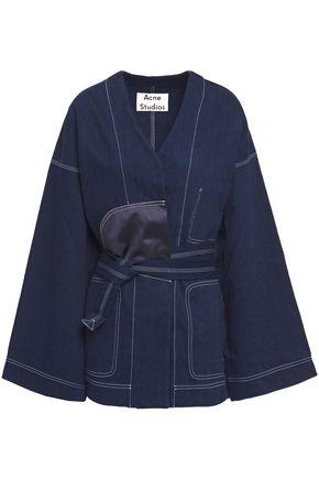 ACNE STUDIOS Orinda tie-front silk satin-trimmed denim jacket