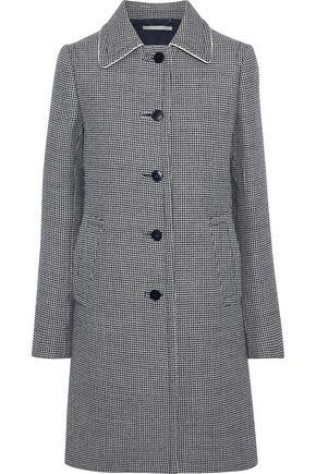 STELLA McCARTNEY Silk-trimmed houndstooth wool coat