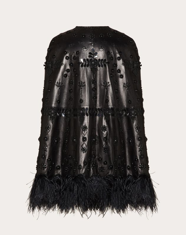 Embroidered Leather Cape