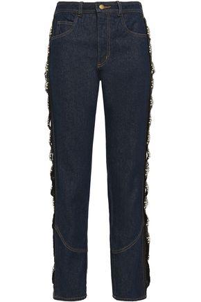 JOHANNA ORTIZ Embellished grosgrain-trimmed high-rise straight-leg jeans