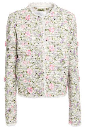 GIAMBATTISTA VALLI Frayed embroidered bouclé-tweed jacket