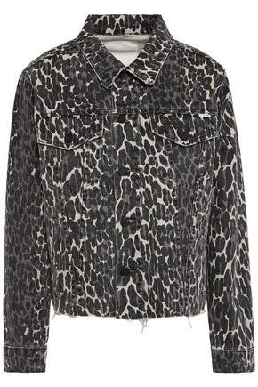 MOTHER The Cut Drifter distressed leopard-print denim jacket