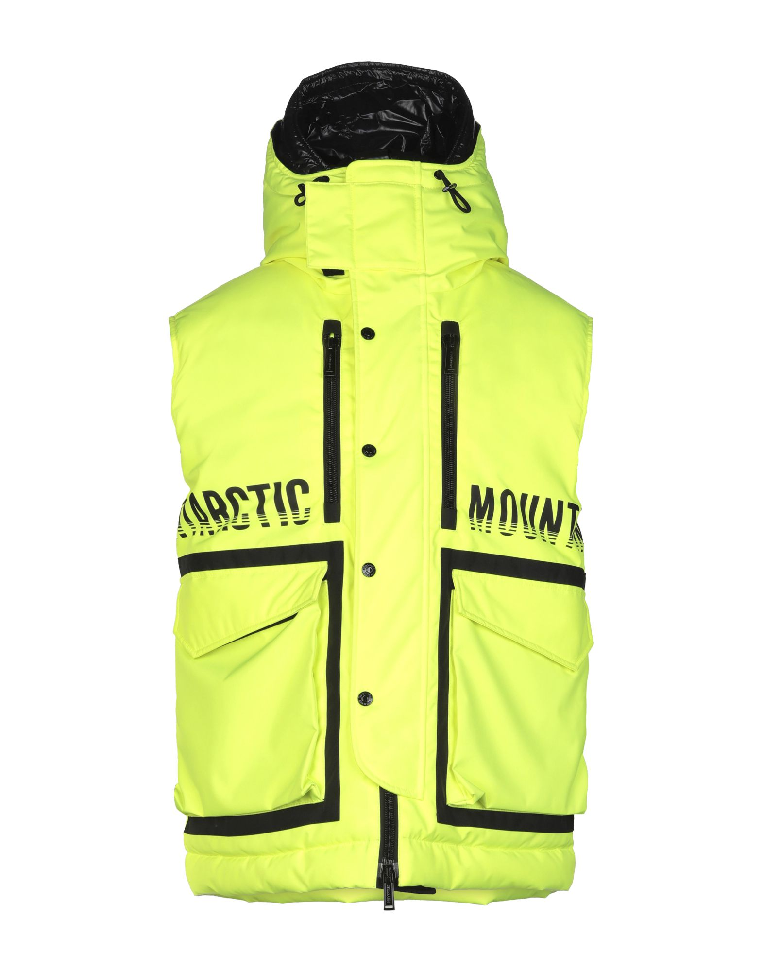 DSQUARED2 Synthetic Down Jackets. techno fabric, logo, solid color, single-breasted, snap-buttons, zip, hooded collar, multipockets, sleeveless, internal padding. 100% Polyester, Polyurethane, Polyamide