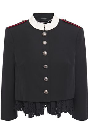 ALEXANDER MCQUEEN Cropped layered broderie anglaise and wool jacket