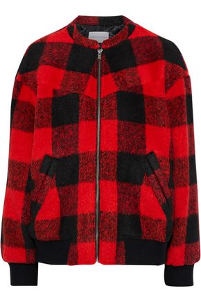 REBECCA MINKOFF Brenda checked brushed-woven bomber jacket