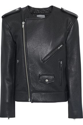 REBECCA MINKOFF Katrina textured-leather biker jacket