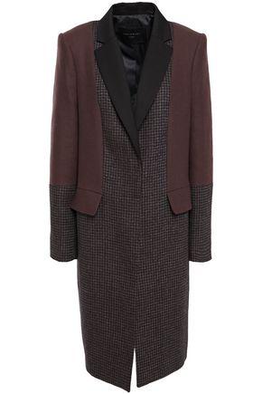 EQUIPMENT معطف من مزيج الصوف بنمط المربعات الصغيرة ومن التويل الجوخي الممشَّط
