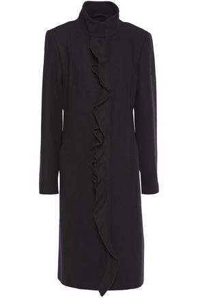 DKNY Ruffle-trimmed brushed wool-blend coat