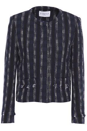 CLAUDIE PIERLOT Fringed striped cotton-blend tweed jacket