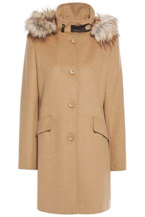 DKNY Faux fur-trimmed wool-blend coat