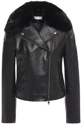 BAILEY 44 Faux fur-trimmed faux leather biker jacket