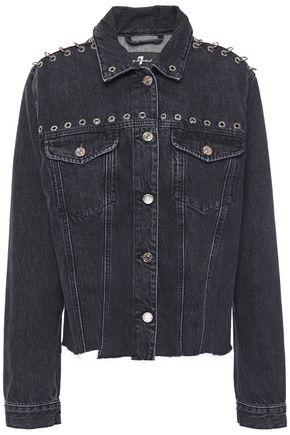 7 FOR ALL MANKIND Frayed eyelet-embellished denim jacket