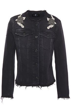 7 FOR ALL MANKIND Frayed appliquéd embellished denim jacket