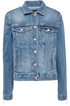7 FOR ALL MANKIND Chain-trimmed bead-embellished faded denim jacket