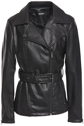 DKNY Belted faux leather jacket