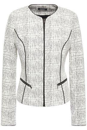 DKNY Leather-trimmed jacquard-knit cotton-blend jacket