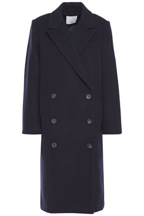 TIBI Double-breasted brushed wool-blend coat