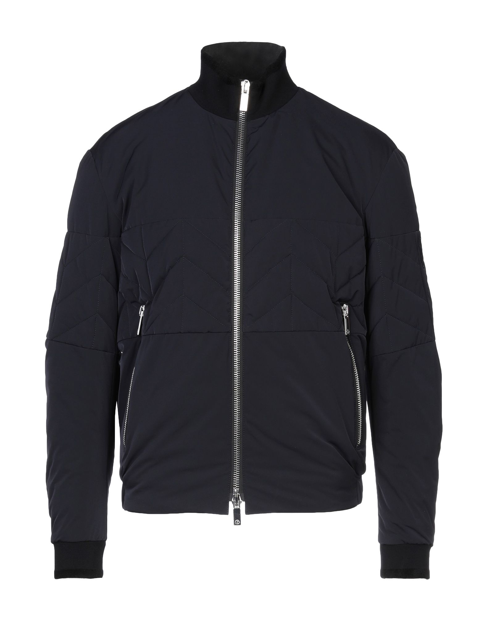 GIORGIO ARMANI Synthetic Down Jackets. techno fabric, logo, stitching, basic solid color, single-breasted, zip, turtleneck, multipockets, long sleeves, interior padded with cashmere. 100% Polyester, Polyamide, Elastane, Viscose