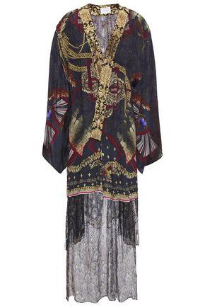CAMILLA Macramé-paneled printed silk crepe de chine kimono