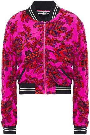McQ Alexander McQueen Cropped ruched floral-print crepe de chine bomber jacket