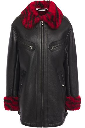 McQ Alexander McQueen Printed shearling-trimmed textured-leather jacket