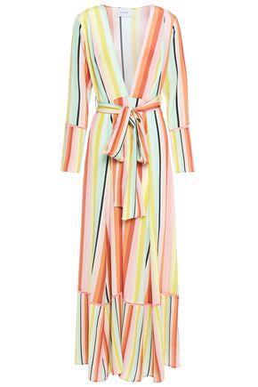 WE ARE LEONE Crochet-trimmed striped silk crepe de chine maxi dress