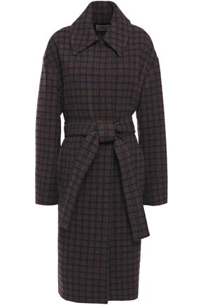 VINCE. Checked wool-blend coat