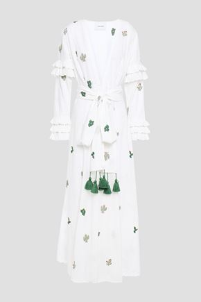 WE ARE LEONE Embroidered fil-coupé cotton maxi dress