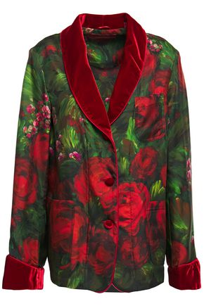 F.R.S. FOR RESTLESS SLEEPERS Persefone velvet-trimmed printed silk-twill shirt