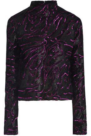 16ARLINGTON Sequin-embellished mesh turtleneck blouse
