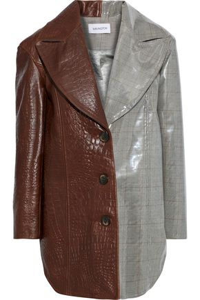 16ARLINGTON Lauren paneled croc-effect leather and checked vinyl jacket