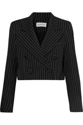 16ARLINGTON Cropped pinstriped twill blazer