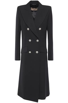 ALEXANDRE VAUTHIER Double-breasted crystal-embellished grain de poudre wool coat