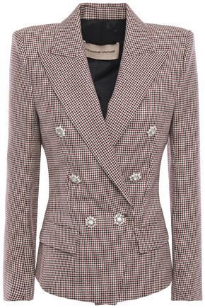 ALEXANDRE VAUTHIER Double-breasted crystal-embellished houndstooth wool blazer
