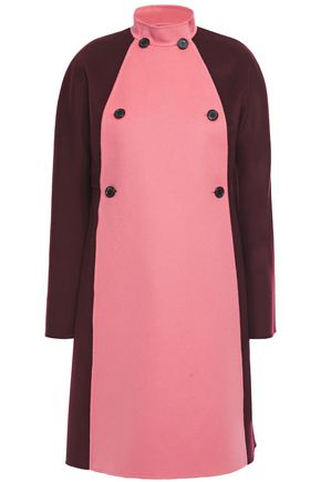 VALENTINO Double-breasted two-tone wool and cashmere-blend felt coat