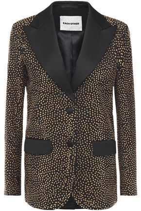 EACH X OTHER Satin-trimmed crystal-embellished wool-twill blazer