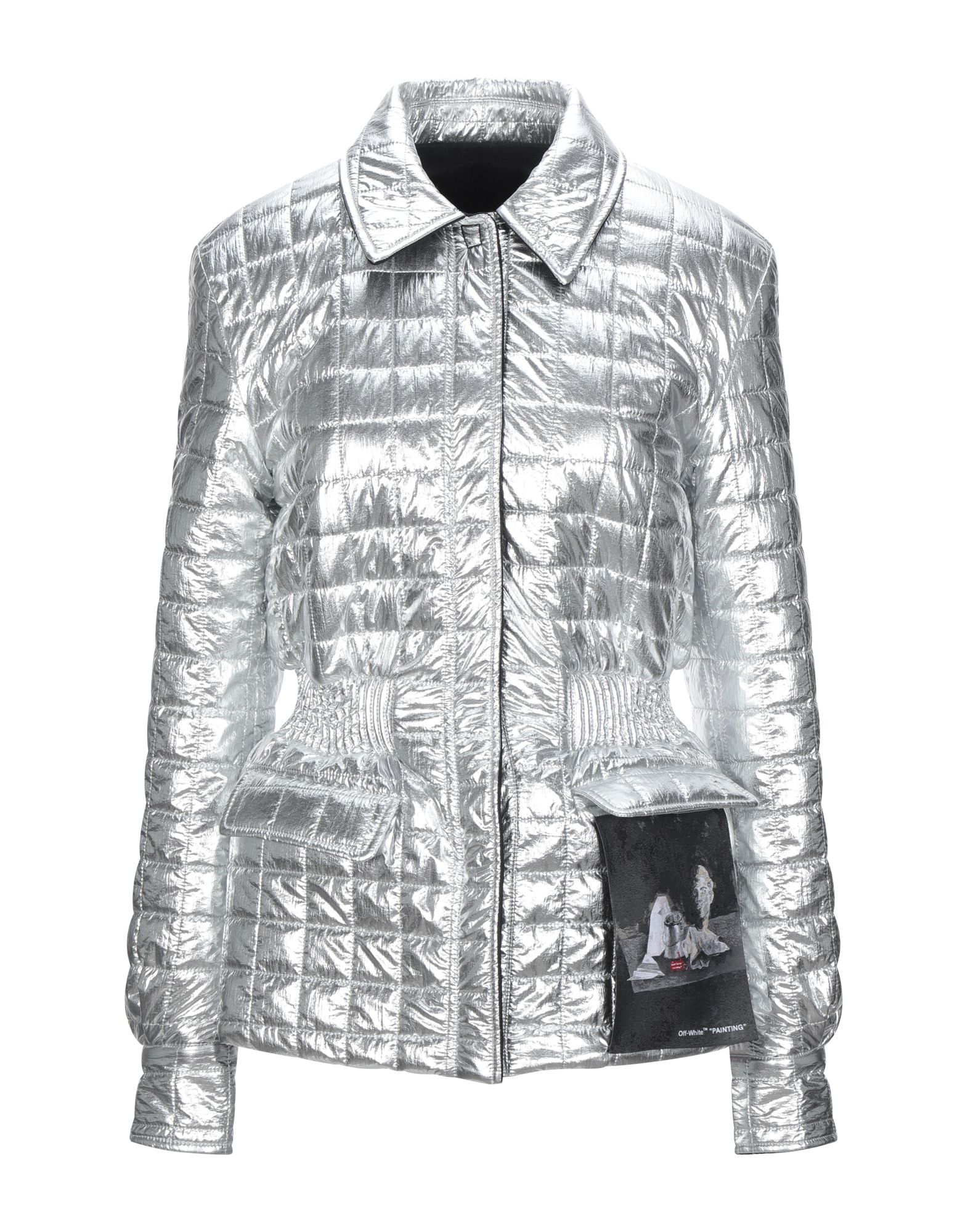 OFF-WHITE™ Synthetic Down Jackets. quilted, techno fabric, laminated effect, no appliqués, solid color, single-breasted, snap buttons fastening, classic neckline, multipockets, two inside pockets, long sleeves, snap button cuffs, internal padding. 70% Cotton, 30% Viscose, Polyamide