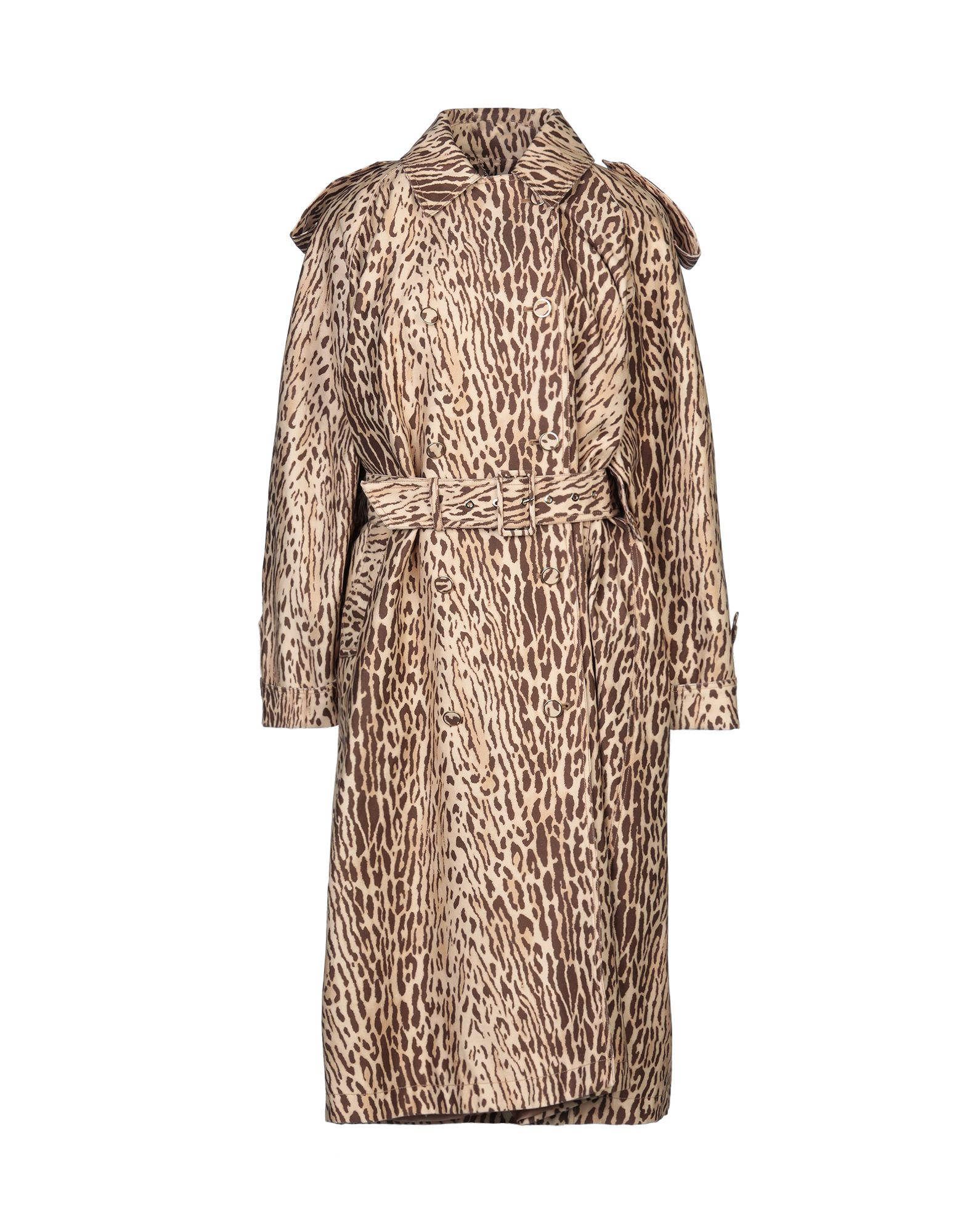 ZIMMERMANN Overcoats. plain weave, belt, leopard-print, double-breasted, button closing, classic neckline, multipockets, long sleeves, rear slit, fully lined. 100% Cotton