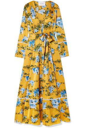 WE ARE LEONE Crochet-trimmed floral-print silk-blend satin robe