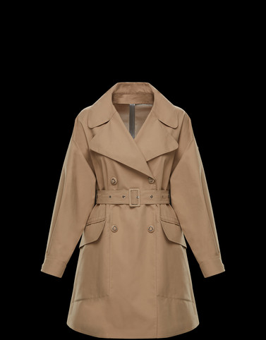 LIE Beige Coats & Trench Coats Woman