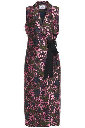 ERDEM Rian grosgrain-trimmed metallic floral-jacquard midi dress