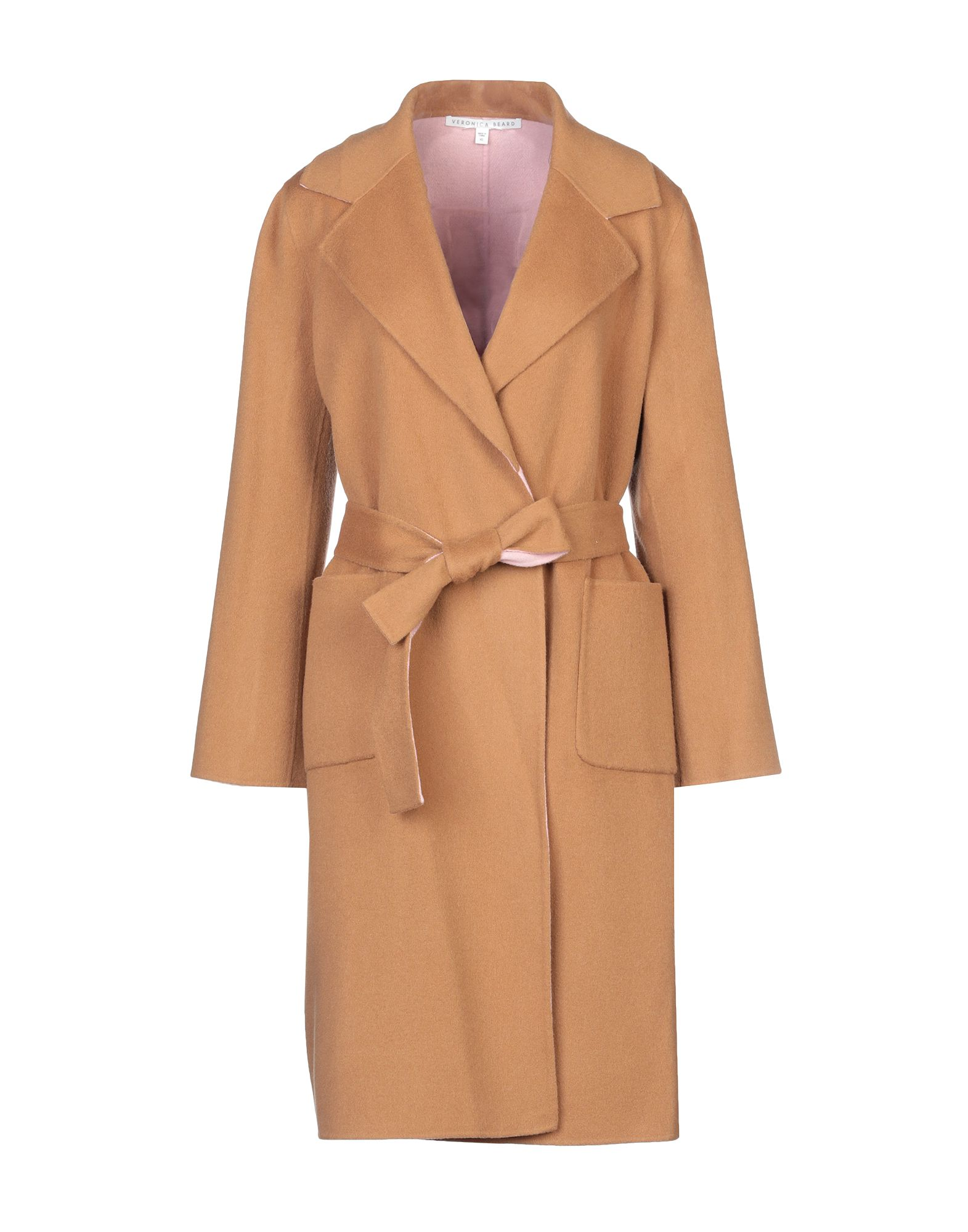 VERONICA BEARD Overcoats. flannel, belt, basic solid color, single-breasted, self-tie wrap closure, lapel collar, multipockets, long sleeves, unlined, double face. 90% Wool, 10% Cashmere