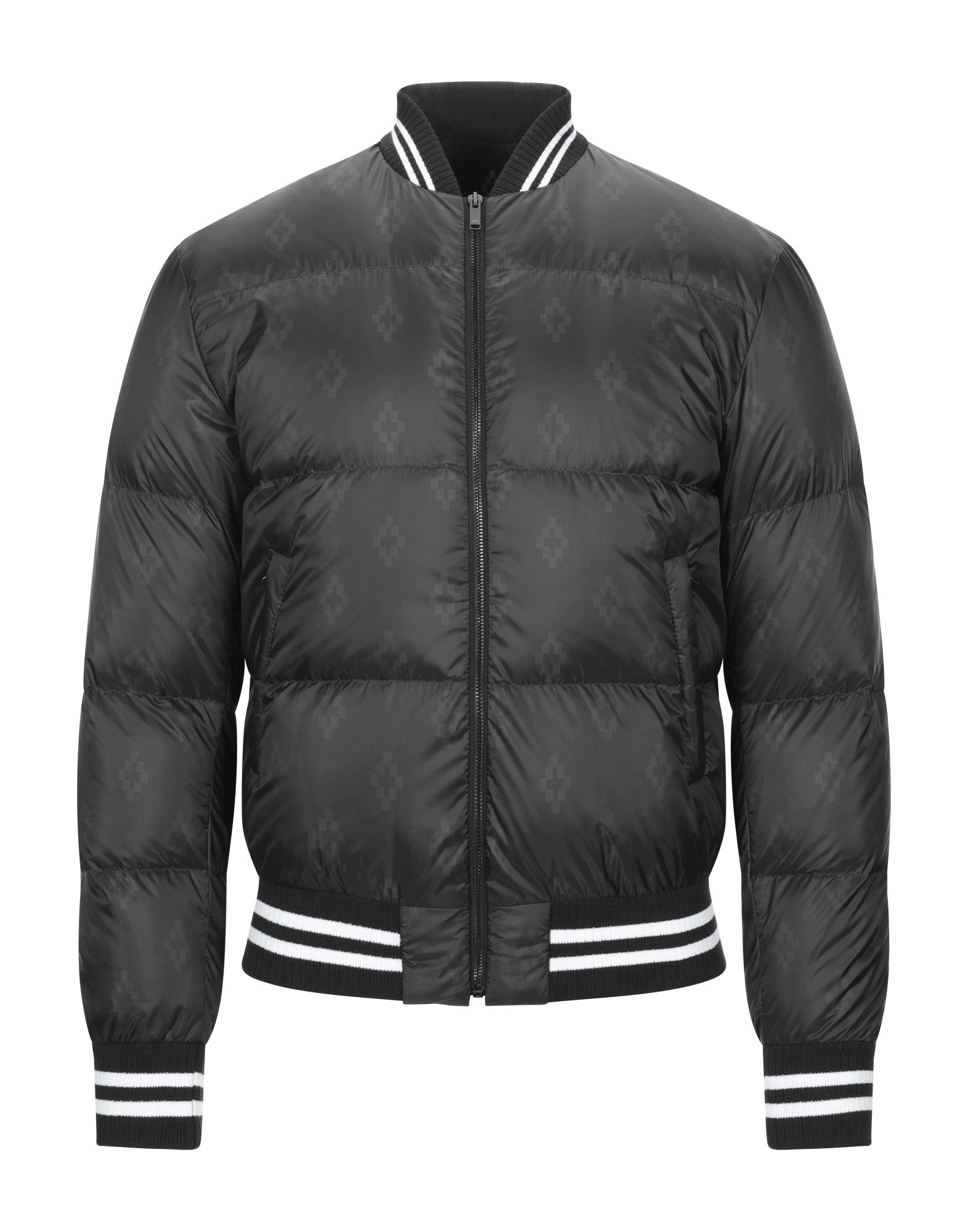 MARCELO BURLON Down jackets. duck down filling, techno fabric, single-breasted, round collar, multipockets, long sleeves, zipper closure, solid color, knitted cuffs, contains non-textile parts of animal origin. 100% Polyester, Polyamide, Elastane