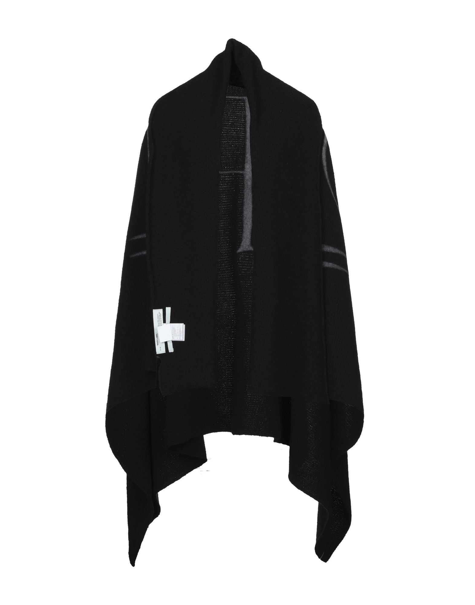 OFF-WHITE™ Capes & ponchos. knitted, logo, solid color, single-breasted, no pockets, deep neckline, 3/4 length sleeves, unlined. 40% Polyester, 30% Wool, 30% Acrylic