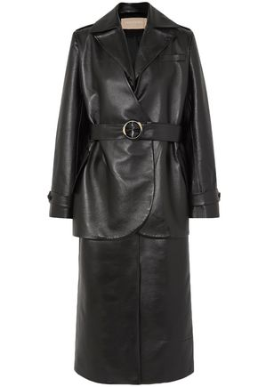 MATÉRIEL Belted layered faux textured-leather trench coat
