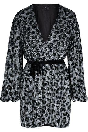 RETROFÊTE Gabrielle sequined chiffon mini wrap dress