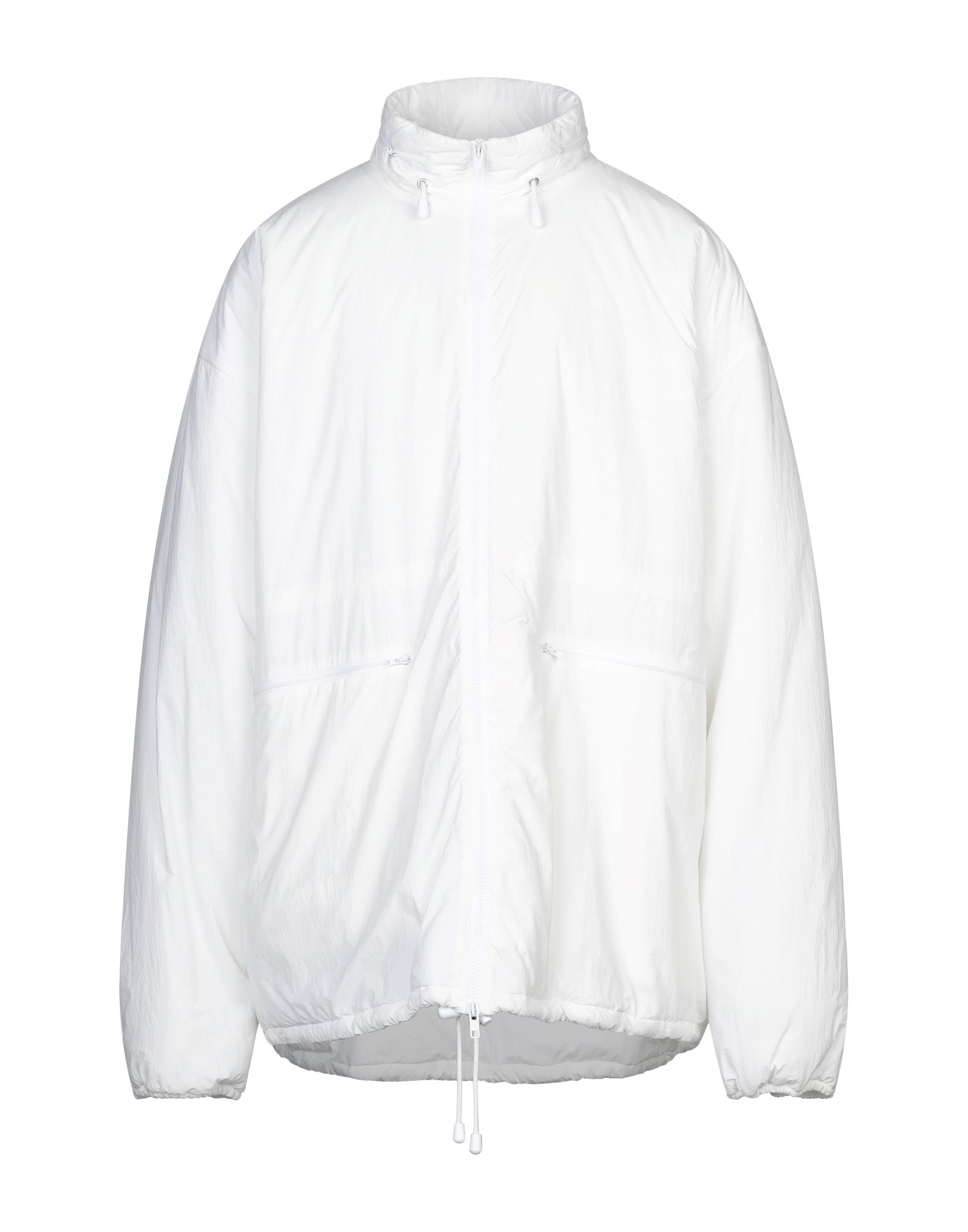 MAISON MARGIELA Synthetic Down Jackets. techno fabric, no appliqués, basic solid color, single-breasted, zipper closure, hooded collar, multipockets, long sleeves, internal padding, large sized. 100% Polyamide, Polyester