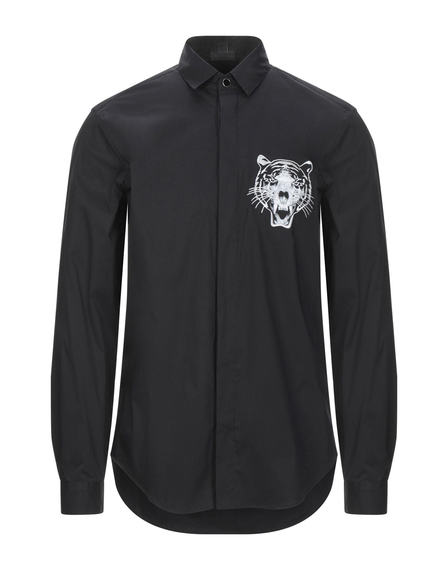 《セール開催中》JUST CAVALLI メンズ シャツ ブラック 46 コットン 76% / ナイロン 21% / ポリウレタン 3% / レーヨン
